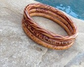 Wood Bangle Bracelets! Wild Set Of 3 For Layering! Great Gift!