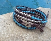 Turquoise and Rhinestone Wrap Bracelet ~ Makes a Beautiful Gift!