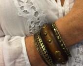 Wood n Metal Bangle Set! Chocolate Wood Bracelets! Set of 5 for Multi Layering! Great Gift!