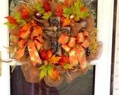 Fall thanksgiving Deco Mesh Wreath
