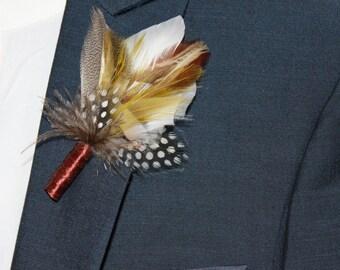 Buttonhole, Wedding Boutonnieres, Groom Feather Boutonnière, (Buttonhole)