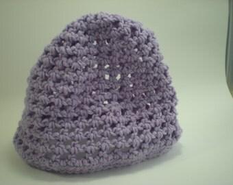 Lavendar Crocheted Open Weave Hat