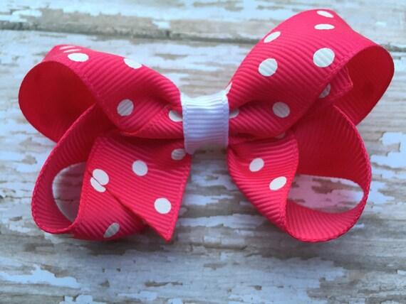 Hot pink polka dot boutique bow - pink polka dot bow, pink hair bow, toddler bow, pink bows, girls hair bows, girls bows, boutique bows
