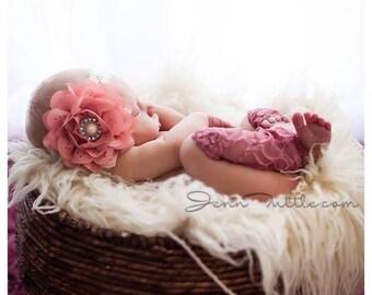 Newborn photo prop, dusty rose lace leg warmer set, photography prop, lace leggings