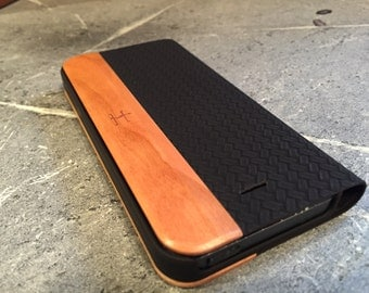 IPHONE 5/5S portfolio case BLACK leather and american cherry wood case