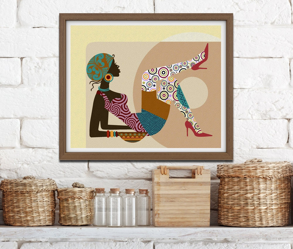 african american art gift for wife gift for woman girls room decor african wall decor black. Black Bedroom Furniture Sets. Home Design Ideas
