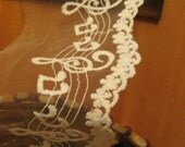 off white lace trim , cotton embroidered mesh lace with musical notes, 2 yards