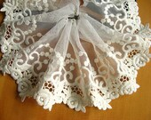 cotton lace trim , off white embroidered mesh lace, retro scallop lace with roses