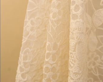 ivory bridal lace fabric, organza floral lace fabric, bridal gown lace
