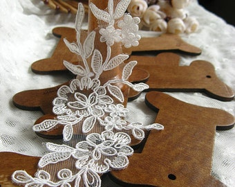 Ivory Lace Applique, alencon lace applique, bridal lace applique, bridal lace headpiece