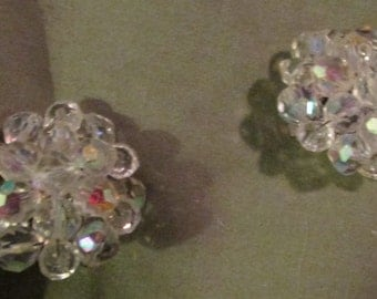 Vintage Iridescent beads clip on earrings 1950s wedding
