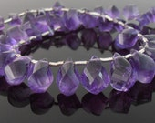 Amethyst Twist Briolettes, Faceted, 5-6.5 x 9-11 mm, Set of 35