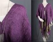 Purple Poncho Gold shawl capelet top blouse Boho Bohemian Hippie size OSFA Large L