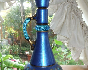 Blue Genie / Djinn Bottle I Dream of Jeannie Hand Painted Original Jim Beam Whisky Glass Bottle Decanter OOAK Gift
