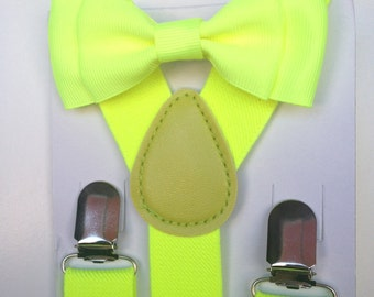 Bowtie Supender Set Neon Yellow Baby bow tie Suspenders Hot Yellow Boys Bowties Toddler suspenders Mens bowtie Fathers day Neon Wedding Baby