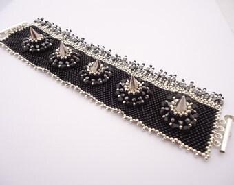 Liz Vicious Bracelet - Black Silver Metal Spiked - Czech Beads