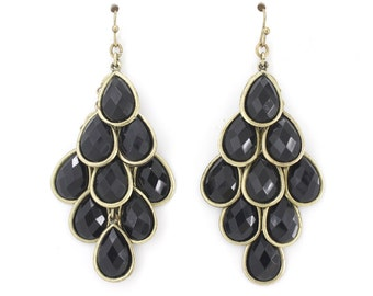 Elegant Gold-tone Black Beads Chandelier Dangle Drop Earrings,M4