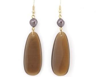 Elegant Gold tone Stone Dangle Drop Earrings,Two Options,G3
