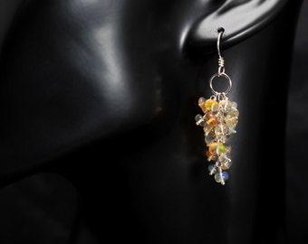 Ethiopian Fire Opal Cluster Sterling Silver Earrings