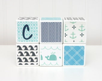 Personalized Baby Blocks -  Nursery Decor - SET OF 6 - Boy - Blue Teal Navy Gray Whales Sailing Anchors Waves