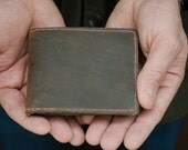 Men's Leather Bifold Wallet, Distressed Brown Leather Wallet