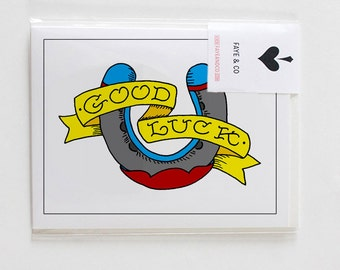 Good Luck, Horseshoe Tattoo with Banner, Greeting Card
