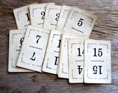 Vintage Number Cards - Shabby Chic Cards - Paper Crafts - Cards with Numbers - Primitive Cards