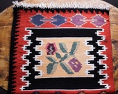 6.95 ft X 2.06 ft, Rag Runner Floral Pattern Motif, Vintage Hand Woven Carpet, Balkan Traditional Kilim, Pure Organic Wool