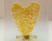 GOLDEN IRIDIZED VALENTINE Love Heart NightLight Fused Glass Night Light