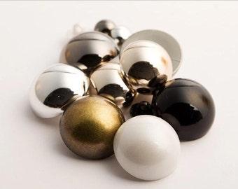 8 pcs 0.39~0.98 inch Gold/Bronze/Black/White/Gun black Mushroom Plastic Shank Buttons for Women Shirts Coats