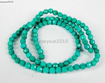 Natural Green Turquoise Gemstones 4mm Faceted Round Spacer Loose Beads 15'' Strand for Jewelry Making Crafts