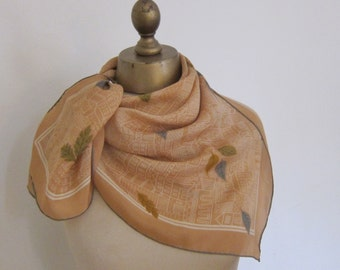 Vintage SILK scarf , 1950s ARCHITECTURAL , hand rolled FALL autumn scarf, ladies headscarf,  1950s fashion, square silk scarf