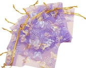 "10 Purple Gold and Silver Butterfly Organza Drawstring Bags - 4 1/2"" X 3 1/2"""