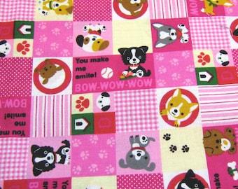 Pink Dogs  Cotton Fabric,Kawaii Fabric, Fabric By The Yard