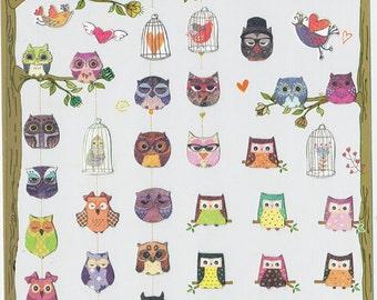 Korean Scrapbook Die-cut Stickers, Cute Owl (STNO05031)