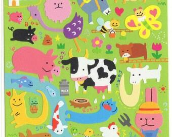 Kawaii Japan sticker Sheet Assort: Novelty Yuru Big Farm Animals Stickers for Diy Decoration Schedule Book Planner R