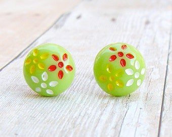 Daisy Trio in Spring Green - vintage glass button post earrings