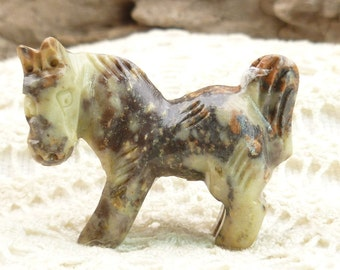 Large Hand-carved Earth toned Soapstone Horse Pendant Bead