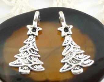 Silver Tone Christmas Tree Charms (6)