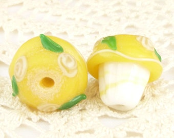 Yellow Frosted CupcakeFlower Lampwork Glass Beads, Sampler Collection (2)