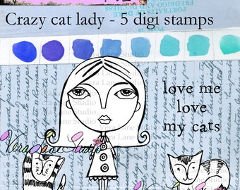 "Crazy Cat Lady - 5 image digi stamp set with ""Flora"" and three of her 47 cats.  Available for instant download"