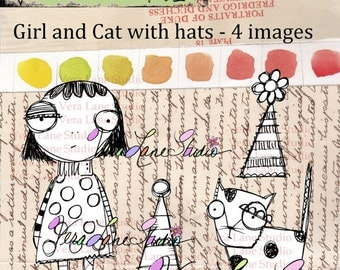 Girl and cat with party hats - digital stamp set