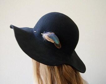 Women wide brim hat , Black felt winter autumn wide brim hat , Hat for her , womens hat , floppy Hat