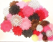 """100 Polka Dot Printed Flower Petals-2.5""""-4""""-DIY Flowers for hair clips, bouquets, crafts, etc."""