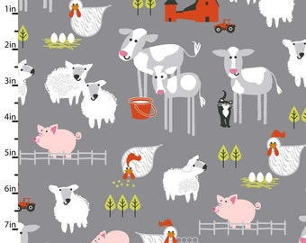 Fat Quarter Farm Friends Grey Pigs Sheep Chickens Cows Cotton Quilting Fabric