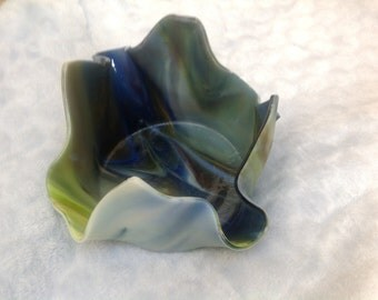 Gorgeous blue/green fused glass candle holder