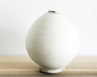 Decorative white modern round pottery vase, ceramic vessel by julia paul pottery