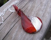 JEWELRY SALE- Ruby Red Twist Necklace- Murano Glass Red and Silver Twist