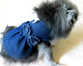 Indigo Denim Small Dog Dress with Shabby Chic Trim and Toile Print Bow Pet Clothes Dog Clothing Cat Clothes Customize to Fit for Yorkie Size