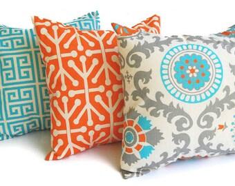 Throw pillow covers set of three Orange Natural Aqua Gray dosset cushion covers pillow shams home decor